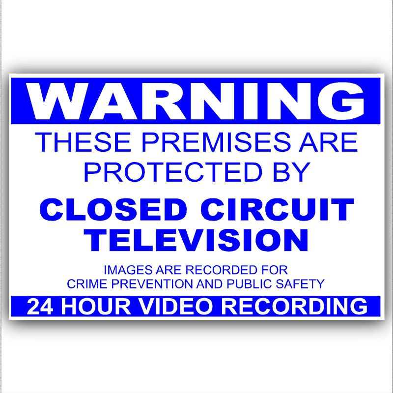 1 x Monitored by CCTV Stickers-Blue on White-Video Recording Camera Security Warning Signs-Self Adhesive Vinyl-Worded